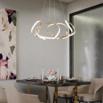 Low Profile Chandeliers Chrome Curved Led Pendant Light 23