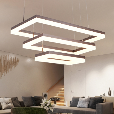 Modern Adjule Pendant Lighting Frosted Led Rectangular Chandelier 15 75 23 62 31 50 Long 20 45 80w Brwon Lamp For Living Room Dining