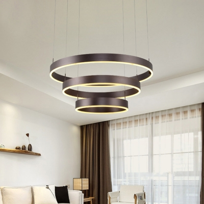 Modern Linear Chandelier Single Ring Double Ring Three