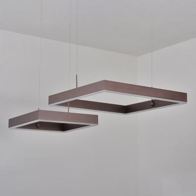 Modern Linear LED Chandelier 2-Light/3-Light Square LED Chandelier 68/125W LED Ambient Warm White Light Brushed Aluminum LED Cubic Suspended Lamp (Cord Adjustable)