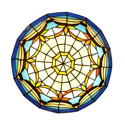 Nautical Style Sailboat Design Tiffany Ceiling Light Fixture with Shallow Shade 2 Sizes Available