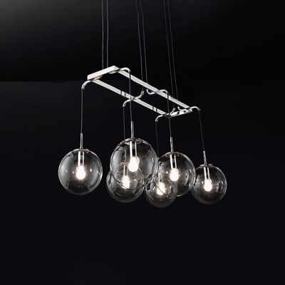 Nickel Finish 6/8/10 Light LED Linear Pendant Light Dining Room Bar Counter High Brightness Clear Glass Shade Globe LED Chandeliers 3 Sizes for Option