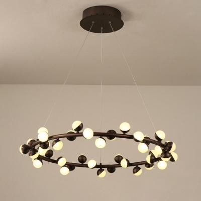 Splendor Accent Lighting Glass Sphere LED Chandelier 32/60/80W Height Adjustable Black Circular Chandelier Lighting for Bedroom Living Room