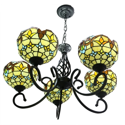 Tiffany Victorian Design 5/6 Lights Hanging Chandelier with Inverted Bowl Shades