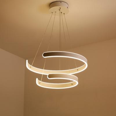 Art Deco Chandelier Cord Adjustable Multi Ring Geometric Led Pendant Lighting Aluminum 60/100/180W Round Eclipse LED Chandelier in White