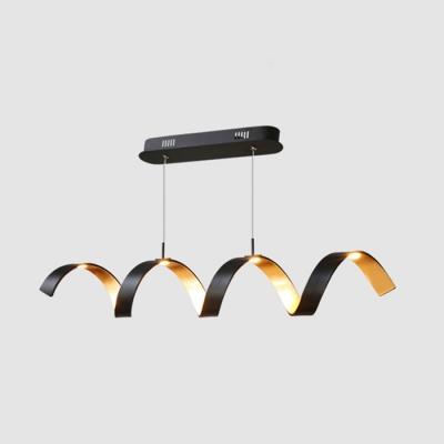 Black and Gold Leaf LED Curved Pendant Light 20W 33.46