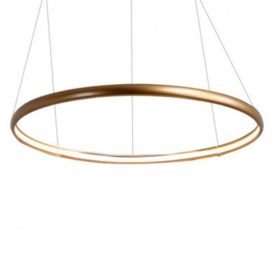 Modern Gold Chandelier Ultra Thin Multi Ring 20/50/100W Innertube LED Chandeliers Foyer Office Staircase Aluminum Cylinder LED Pendant Lighting AC100-240V