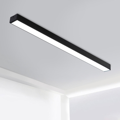 Seamless Connection Linear Fixture Black Aluminum 6000K LED White Light Office Meeting Room  Modern Linear Ceiling Flush Light 3 Sizes for Option
