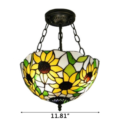 Sunflower Theme Inverted Pendant in Tiffany Style 12