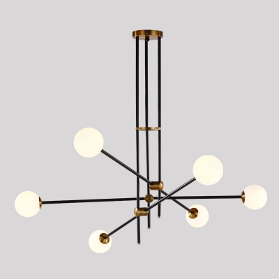 Architectural Lighting Glass Sphere LED Chandelier 2 Light/3 Light/4 Light/6 Light Black Iron LED Linear Chandeliers Decorative Stairs Lobby Bar Gallery Lights