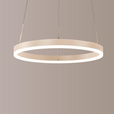 Brushed Aluminum 1 Tier/2 Tier/3 Tier Halo LED Chandelier Adjustable Height Diy Multi Light Pendant in Satin White for Bedroom Dining Room Kitchen