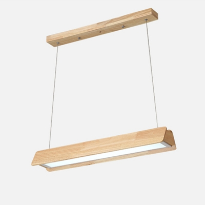 Contemporary Light-Adjustable Wooden Linear Led Pendant Light 12/18/24W Energy Efficient Office Studio Clothes Store Led Chandelier in Acrylic Shade 3 Sizes for Option