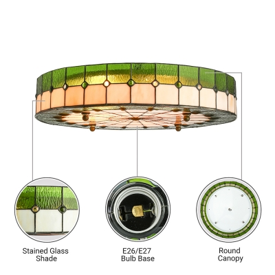 Drum Shade Green Stained Glass Tiffany Flush Mount Ceiling Light in Circular Grid Design