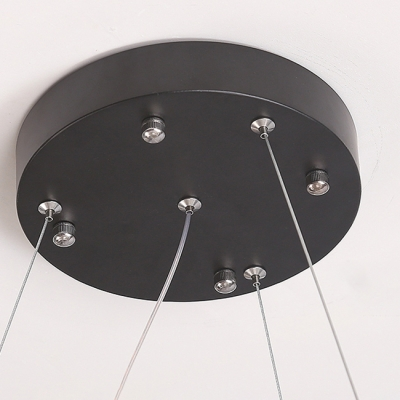 Exclusive Novelty Round Ultrathin Fixture Black Metal Circle Crytal Beads Led Chandelier in 1 Tier/2 Tier/3 Tier LED Warm White Ambinet Light (Cable DIY)