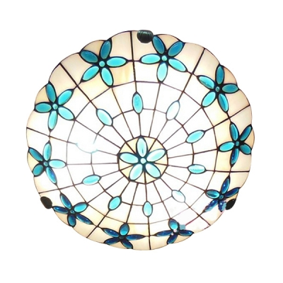 Glittering Gem Themed Dome Shade 16 Inch Wide Tiffany Flush Mount Ceiling Light