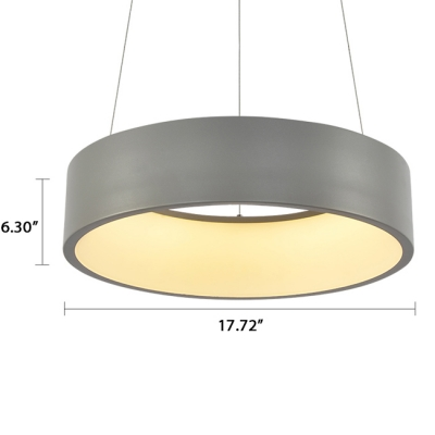 LED Direct Indirect Lighting Hallow Round Led Pendant Lighting Gray/White 28W 17.7