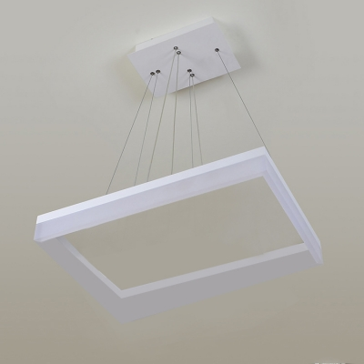 Modern Chandelier for Dining Room Kitchen Frosted Shade Level Rectangle LED Chandelier 30/100/130W LED Warm White Ambinet Light 1/2/3 Tiered Ring Pendant Lighting in White