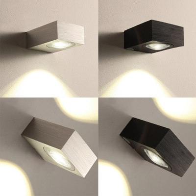 Modern Led Wall Lights Black/Silver 1W-6W Mini 1 Light/2 Light Wall Sconces Aluminum Led Down Light/Up and Down Light Fixture for Balcony Porch Pathway Stairways