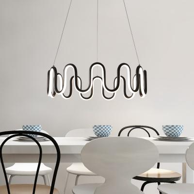 Room Deco Lights Black Iron Chandelier Tiered 20/50/90W Modern Tidal LED Chandeliers Ambinet Warm White Light for Foyer Restaurant Buffet