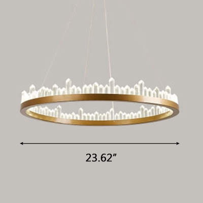 Ultra Modern LED Crystal Ring Pendant LED Ambient Warm White Light 1 Light K9 Crystal Halo LED Chandelier in Gold Height Adjustable  4 Sizes for Option