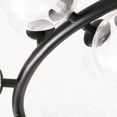 Unique Light Fixture Cord Adjustable 15-LED/25-LED Bubble LED Chandelier Black Metal Ring LED Pendant Lighting for Cafe Restaurant Dining Room