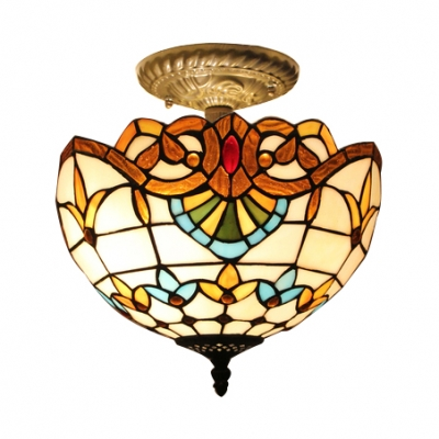 Victorian Style Orange/Blue Tiffany Stained Glass Semi Flush Light with Bronze Canopy