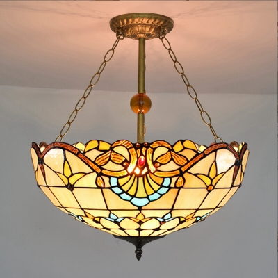 2 Light Beige Bowl Shade Stained Glass 12/19.5 Inch Width Tiffany Chandelier Pendant Lighting