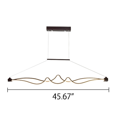 54W Bright LED Tidal Pendant Lighting 45.67 Inch Long Metal LED Linear Fixture in Brown Finish for Restauranrt Cafe Kitchen Bar
