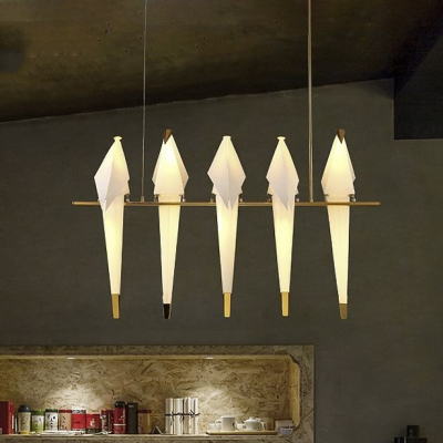 Accent LED Hanging Pendant Light Gold 5 Light 30W Birde LED Chandeliers Height Adjustable Linear Chandeliers for Living Room Bedroom