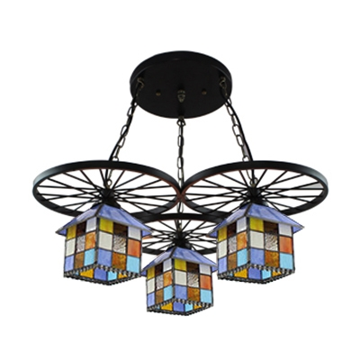 Colorful House Shade 3-Light Pendant Lamp with Black Wheel Decorations 22.82