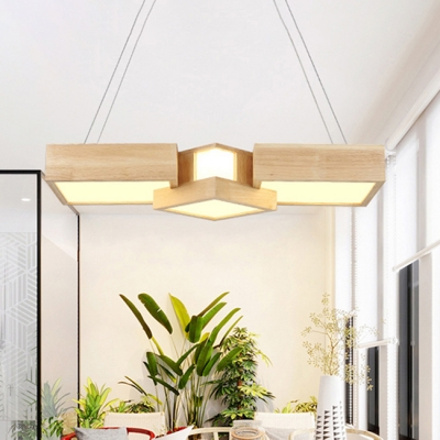 Led Modern Chandelier Lighting Suqare Ceiling Light 36w Acrylic Lampshade 3 Wooden Bedroom Commercial