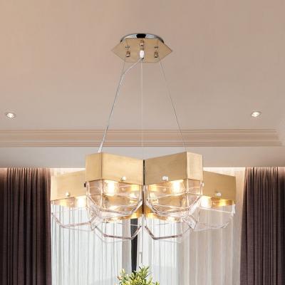 Mid Century Modern Lighting Brushed Steel 5 Light Chandelier In Clear