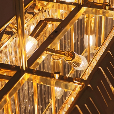Modern Brass Chandeliers 35.43in/47.24in Long Metal Cage Multi Light Hanging Light Fixture with Crystal Rods Decoration Living Room Overhead Lighting