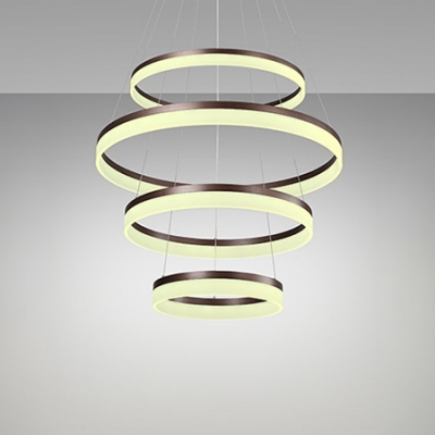 Multi-Ring Large Halo Chandelier Brushed Aluminum Frosted Shade Drum LED Pendant Lighting in Brown Finish for Hotel Hall Foyer Bar