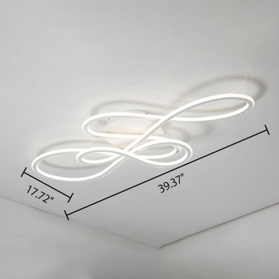 Novelty Home Lighting White Acrylic Curved LED Ceiling Lamp 31.50
