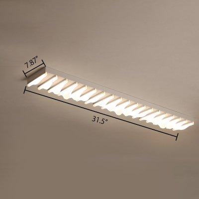 Pathway Bedroom Kitchen LED Ceiling Light 18W-50W LED Warm White Frosted Shade Linear Flush Mount Lighting in Gray