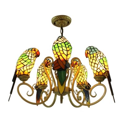 Tiffany Stained Glass 5-Bulb Red/Yellow Parrot Shade Chandelier in Brass Finish