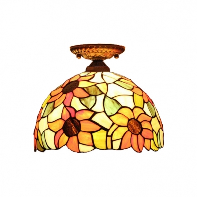 12-Inch Wide Tiffany Dome Shaped Flush Mount Ceiling Fixture with Sunflower Glass Shade, 2 Light