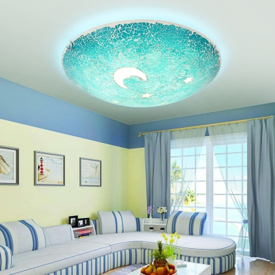Creative Mosaic Design Blue Stained Glass Ceiling Light with Moon and Star Pattern for Kids Room