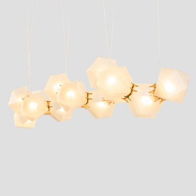 Elegant and Charm Frosted Glass Shade Chandelier Multi Light Gild Geometric Drop Light  for Dining Bar Counter Restaurant