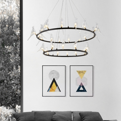 Exclusive Post Modern Style Best Lighting for Home Round LED Chandelier with Birds Decoration 19.69