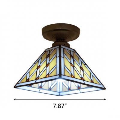 Geometric Pattern Square Tiffany Semi Flush Mount Light with Heritage Bronze Canopy