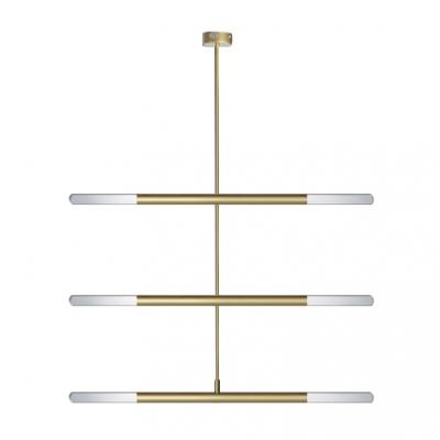 Head Rotating 2/4/6W Led Stick Pendant Light 2 Light/4 Light/6 Light Cylinder Pipe LED Chandelier in Gold for Clothes Stores Restaurant Foyer Hallway