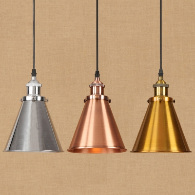 Industrial Style 1-Light Hanging Pendant Lamp with Conical Shade for Restaurant Cafe, Chrome/Copper/Brass, HL486995, Copper;brass;chrome