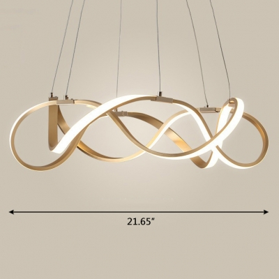 Room Decorative Lights Polished Brass Twist LED Pendant Light 33/83/152W Ultra Modern Multi Ring Chaos LED Chandelier LED Warm White Neutral Light