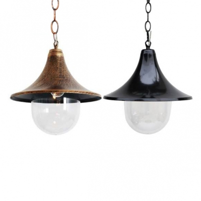 Single-Bulb Ceiling Pendant Fixture with Flared Shade for Restaurant Two Colors for Option, HL486984, Black;rust