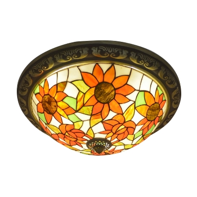 Sunflower Theme Tiffany Stained Glass Flush Mount Light with Bronze Finish Canopy 15