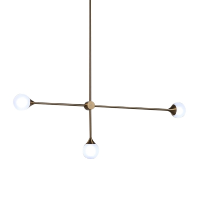 Unique Lighting Glass Sphere LED Chandelier 5W 3 Light Gold LED Linear Chandeliers in Post Modern Style for Restaurant Bar Stairs Lobby