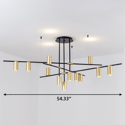 Vintage Style LED Cylinder Chandelier LED Up/Down Lighting 3/4/9/12 Head Branch Shaped Spotlight in Gold for Living Room Clothes Stores Any Shops