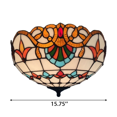 11.81/15.75 Inch Wide Tiffany Double Light Flush Mount Ceiling Light in Victorian Style